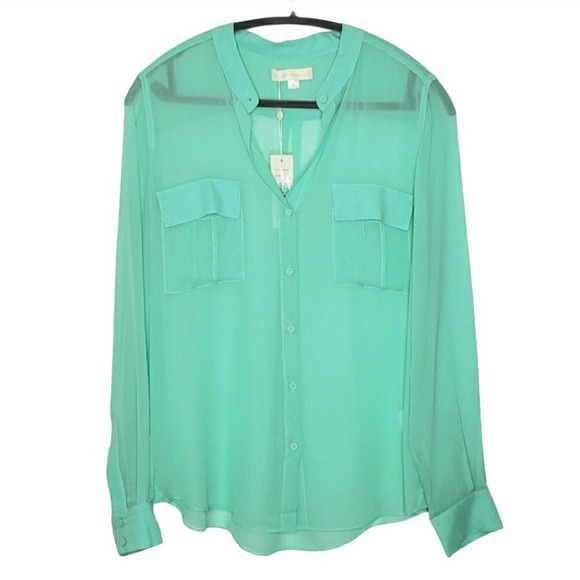 Erin Fetherston Long Sleeve Silk Blouse Top NWT S
